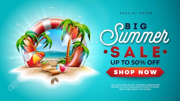 Banner de venta de verano con salvavidas y palmeras exóticas