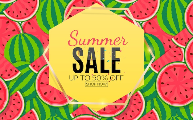 Banner de venta de verano con sandía