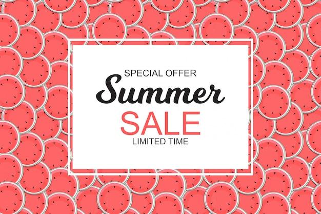 Banner de venta de verano con sandías.