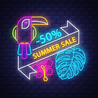 Banner de venta de verano. señal de neón.