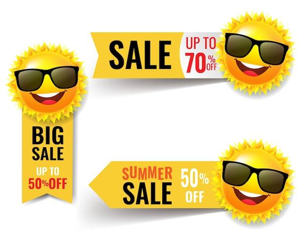 Banner de venta de verano con sol con malla de degradado