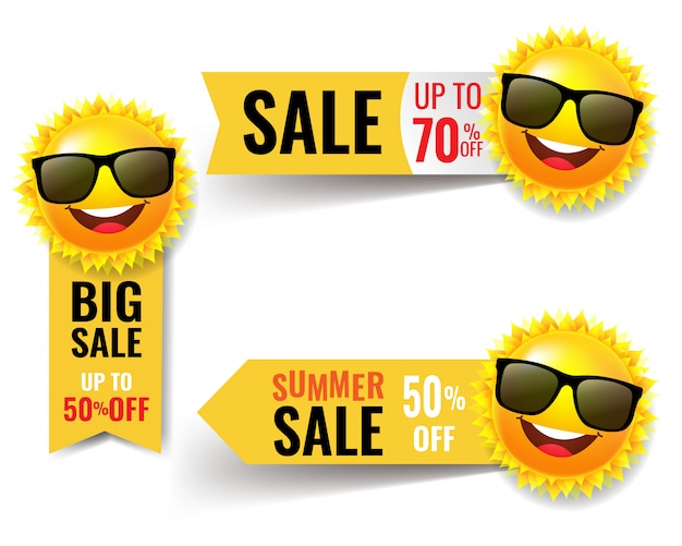 Banner de venta de verano con sol