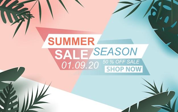 Banner de venta de verano con texto de etiqueta
