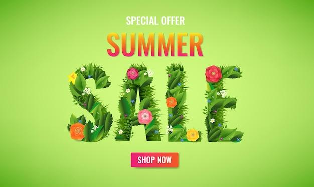 Banner de venta de verano con texto y flores