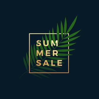 Banner de venta de verano tropical.