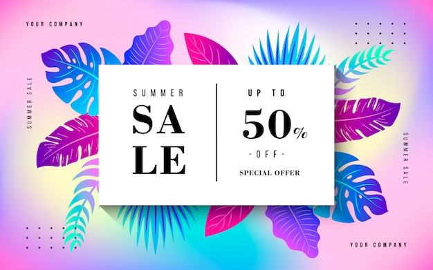 Banner de venta de verano tropical