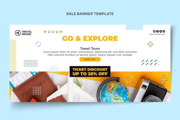 Banner de venta de viajes de diseño plano