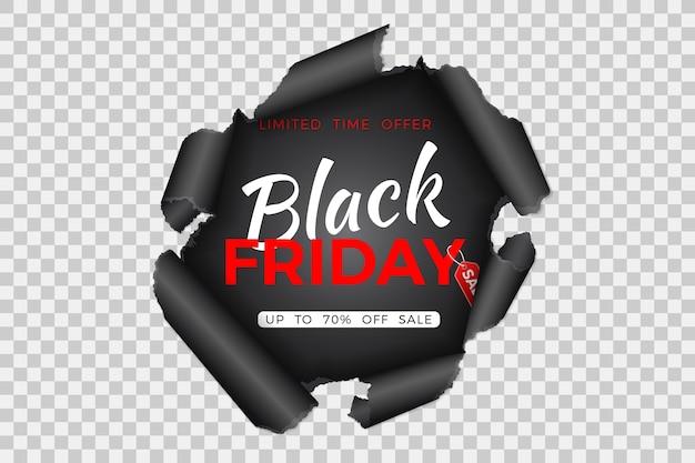 Banner de venta de viernes negro con agujero rasgado en papel y etiqueta de viernes negro sobre fondo transparente