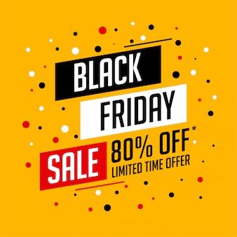 Banner de venta de viernes negro amarillo con detalles de oferta