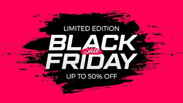 Banner de venta de viernes negro. banner promocional para descuento especial de vacaciones.