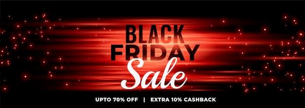 Banner de venta de viernes negro brillante con destellos