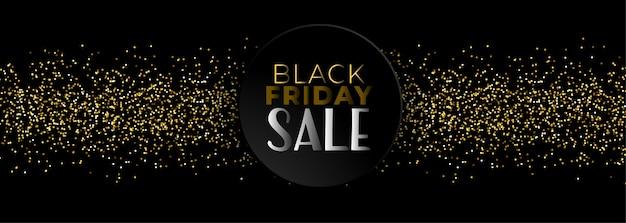 Banner de venta de viernes negro con brillo dorado