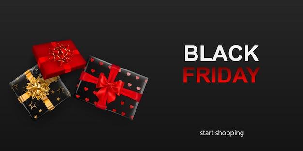 Banner de venta de viernes negro. caja de regalo con lazo y cintas sobre fondo oscuro. ilustración de vector de carteles, folletos o tarjetas.