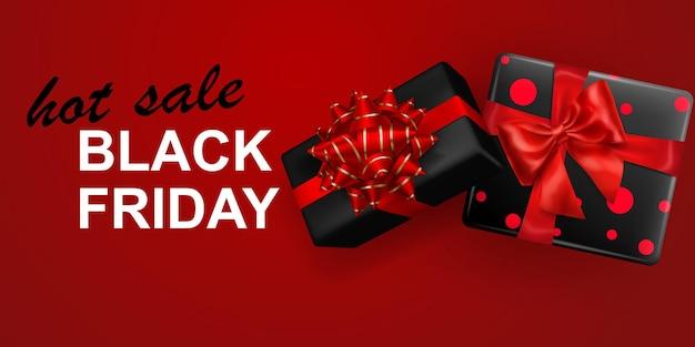 Banner de venta de viernes negro. caja de regalo con lazo y cintas sobre fondo rojo. ilustración de vector de carteles, folletos o tarjetas.