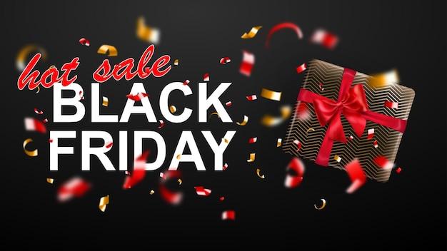 Banner de venta de viernes negro. caja de regalo con lazo y cintas. volando confeti rojo y amarillo borroso brillante y trozos de serpentina sobre fondo oscuro. ilustración de vector de carteles, folletos o tarjetas.