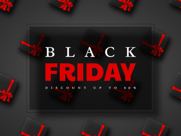 Banner de venta de viernes negro. caja de regalo realista con lazo rojo. fondo negro. ilustración vectorial.