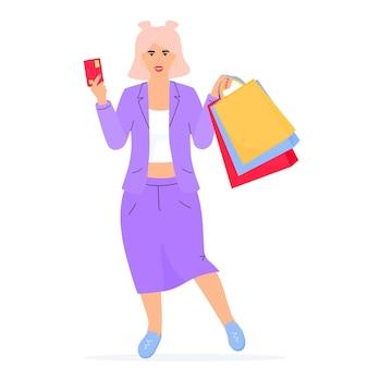 Banner de venta de viernes negro. chica con bolsas de compras y tarjeta de crédito