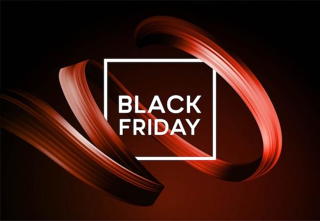Banner de venta de viernes negro con cinta de pintura de color de flujo.
