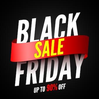 Banner de venta de viernes negro con cinta roja. ilustración.