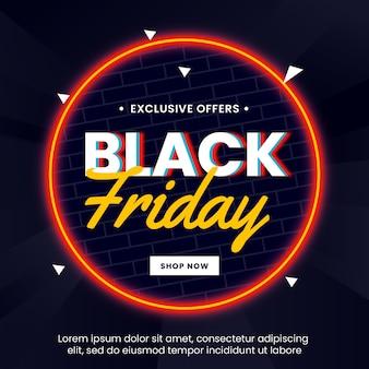 Banner de venta de viernes negro con círculo de luz neón
