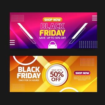 Banner de venta de viernes negro de colores degradados
