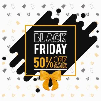 Banner de venta de viernes negro con decoración de pajarita