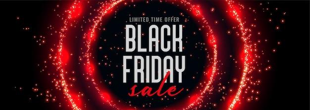 Banner de venta de viernes negro con destellos circulares rojos