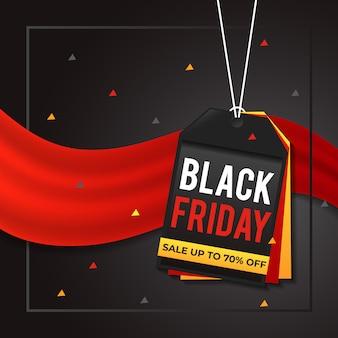 Banner de venta de viernes negro en diseño de etiqueta de precio
