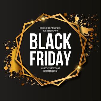 Banner de venta de viernes negro con elegante marco dorado