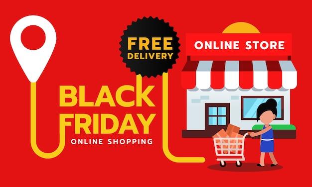 Banner de venta de viernes negro, entrega gratuita para compras en línea.