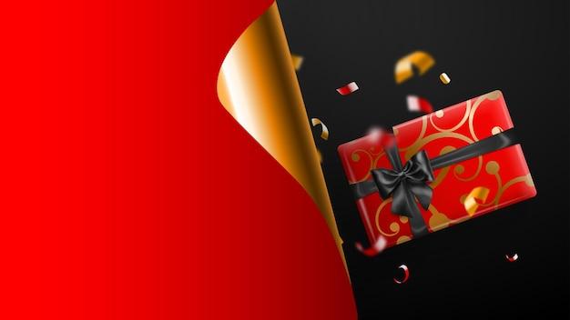 Banner de venta de viernes negro. esquina de papel dorado rizado y lugar para la inscripción. caja de regalo, borrosas piezas rojas y amarillas de serpentina sobre fondo oscuro. ilustración de vector de carteles, folletos, tarjetas