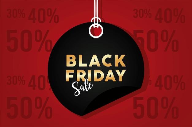 Banner de venta de viernes negro con etiqueta circular colgando