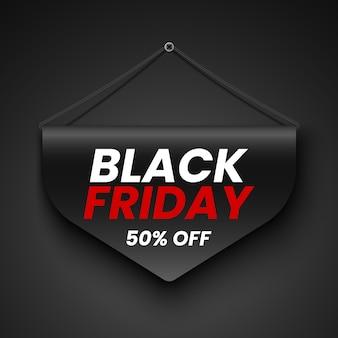 Banner de venta de viernes negro. etiqueta. ilustración.