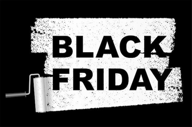 Banner de venta de viernes negro con un fondo de rodillo de pintura blanca