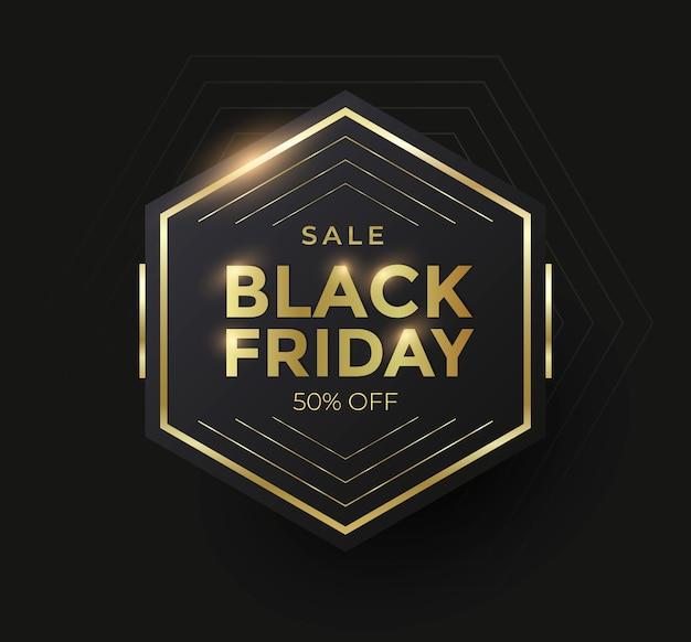 Banner de venta de viernes negro con forma geométrica dorada. ilustración vectorial