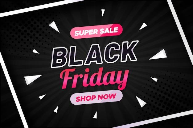 Banner de venta de viernes negro con formas geométricas