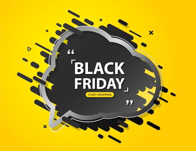 Banner de venta de viernes negro con globo de discurso