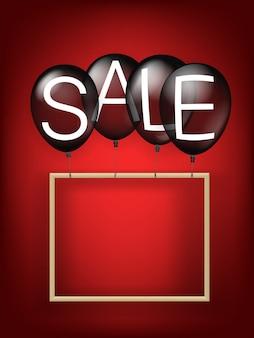 Banner de venta de viernes negro con globos de aire y marco en blanco