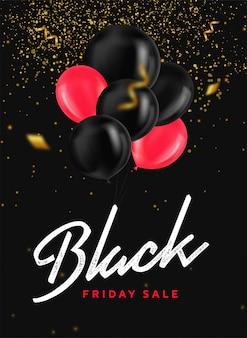 Banner de venta de viernes negro con globos brillantes, confeti y brillo dorado sobre fondo oscuro