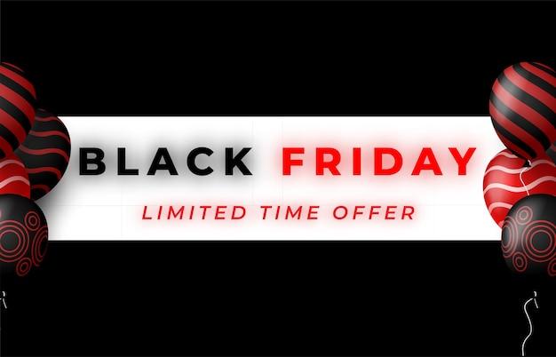 Banner de venta de viernes negro con globos brillantes