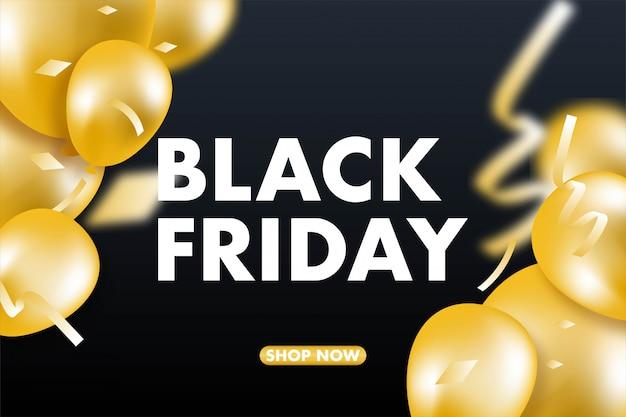 Banner de venta de viernes negro, globos y confeti.