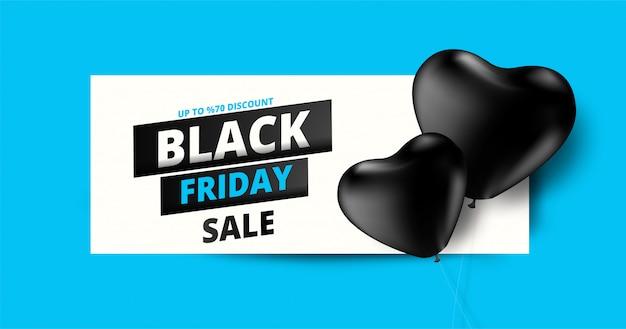 Banner de venta de viernes negro con globos de corazón negro y oferta de 70% de descuento