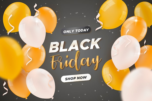 Banner de venta de viernes negro con globos dorados