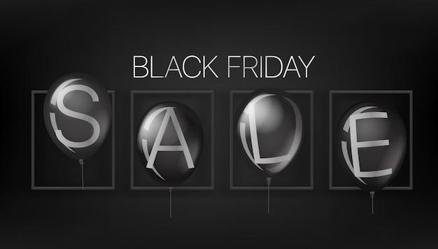 Banner de venta de viernes negro con globos negros.