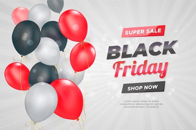 Banner de venta de viernes negro con globos realistas