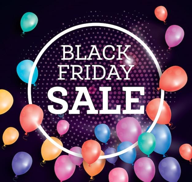 Banner de venta de viernes negro con globos voladores.