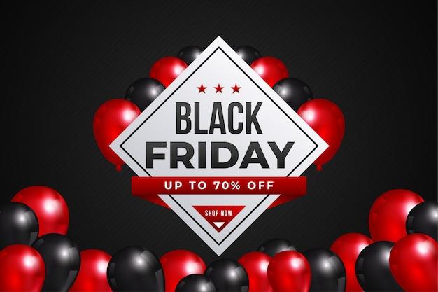 Banner de venta de viernes negro con globos