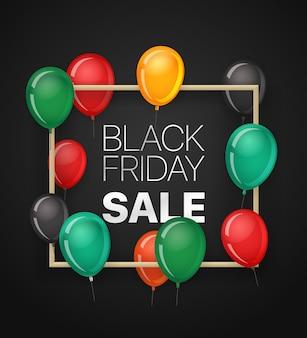Banner de venta de viernes negro con globos.