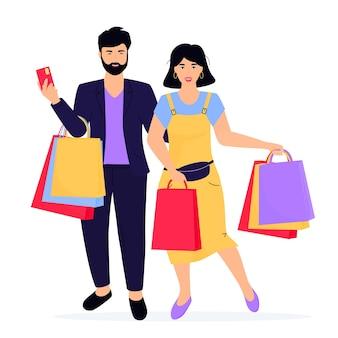 Banner de venta de viernes negro. hombre y mujer, con, bolsas de compras