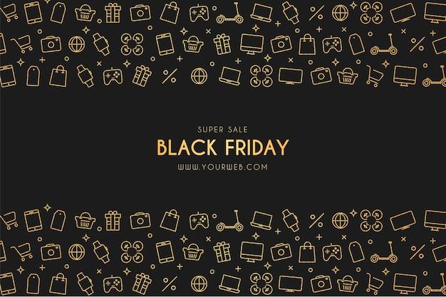 Banner de venta de viernes negro con iconos de tecnología